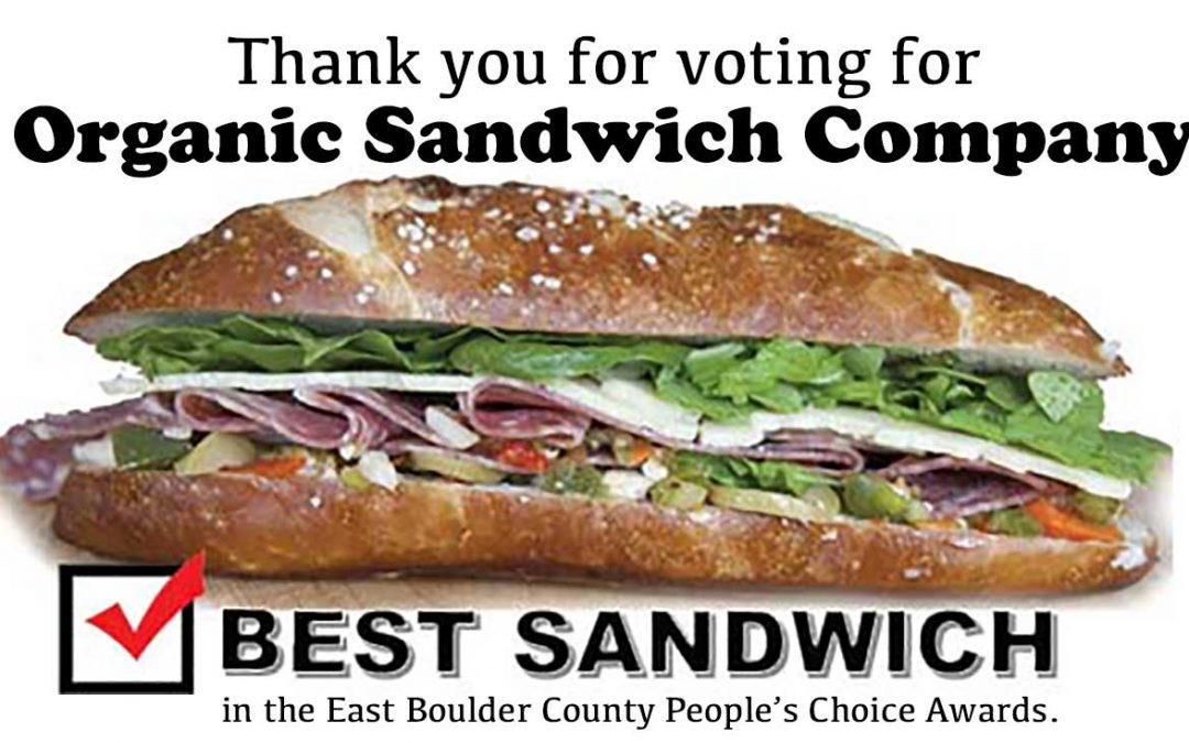 Thank you for voting for Organic Sandwich Company